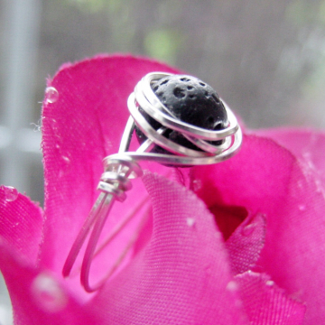 Black Lava Stone Ring, Wire Wrapped, Jet Black Lava Stone, Gift Idea
