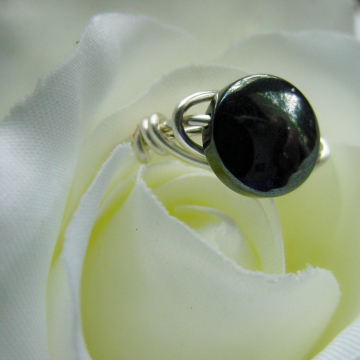 Hematite Round Stone Ring, Semi precious, Wire Wrapped, Intuition Chakras Jewelry, Reiki Jewelry, Gift Idea