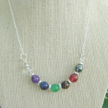 Chakra Necklace Chain, 8mm Stones, Powerful Balance, Harmony, Gemstones, Chakra Jewelry, Reiki Jewelry, Gift Idea